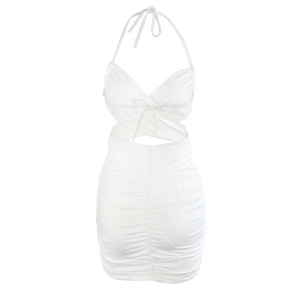 Къса дамска рокля с тънки презрамки и изрязано деколте FZ70 16