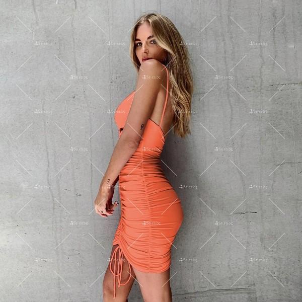 Лятна секси къса рокля с изрязани части и V-образно деколте FZ71 7