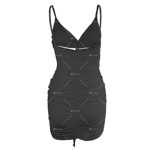 Лятна секси къса рокля с изрязани части и V-образно деколте FZ71 9