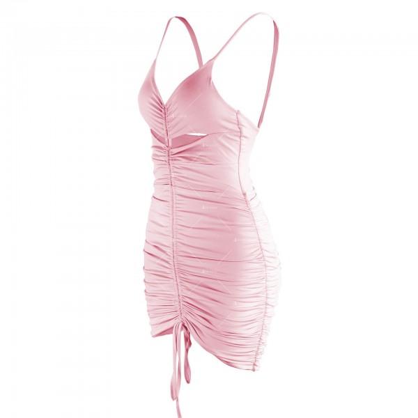Лятна секси къса рокля с изрязани части и V-образно деколте FZ71 12