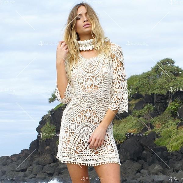 Плажна рокля плетена на една кука с отворен гръб Y72