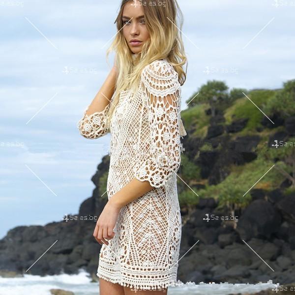 Плажна рокля плетена на една кука с отворен гръб Y72 2