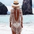Плажна рокля плетена на една кука с отворен гръб Y72 3