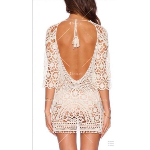 Плажна рокля плетена на една кука с отворен гръб Y72 4