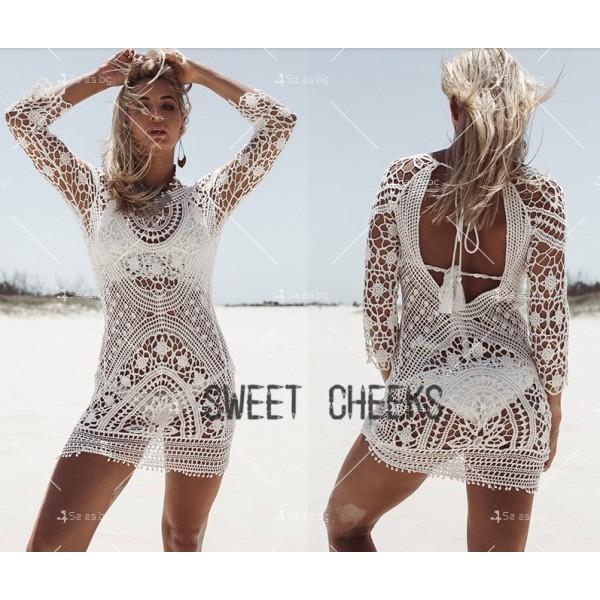 Плажна рокля плетена на една кука с отворен гръб Y72 5