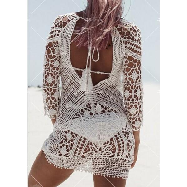 Плажна рокля плетена на една кука с отворен гръб Y72 6