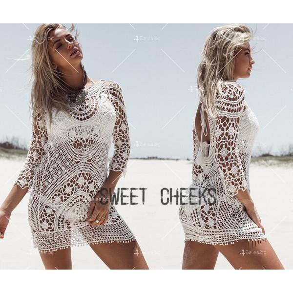 Плажна рокля плетена на една кука с отворен гръб Y72 7