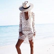 Плетена на една кука плажна рокля с дълъг ръкав и дължина до коляното Y74
