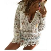 Секси плетена на една кука блуза за плаж и ежедневно носене Y75