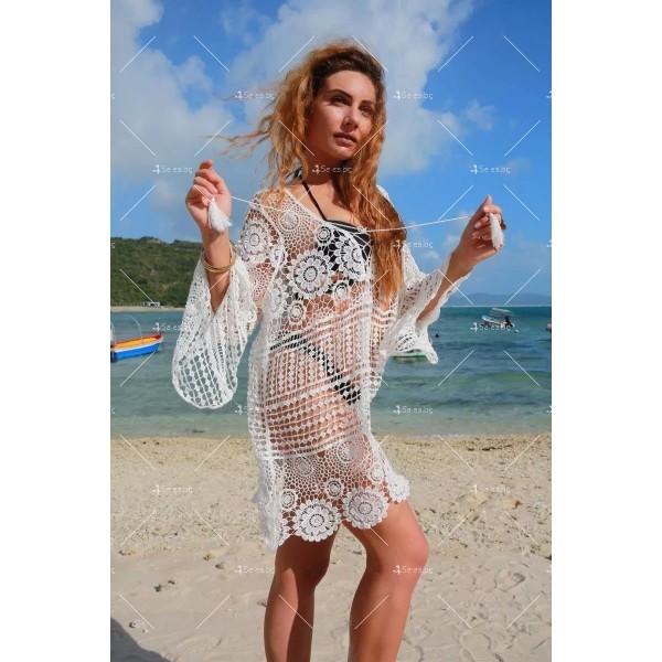 Плетена на една кука плажна туника стил Бохеми Y79 2