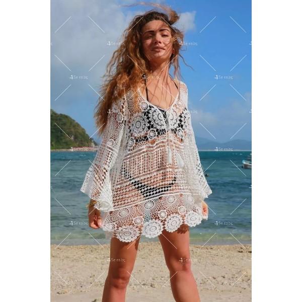 Плетена на една кука плажна туника стил Бохеми Y79 3