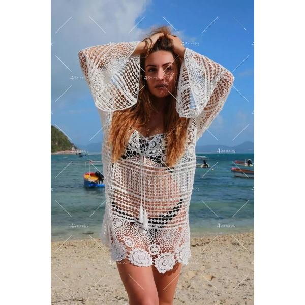 Плетена на една кука плажна туника стил Бохеми Y79 6