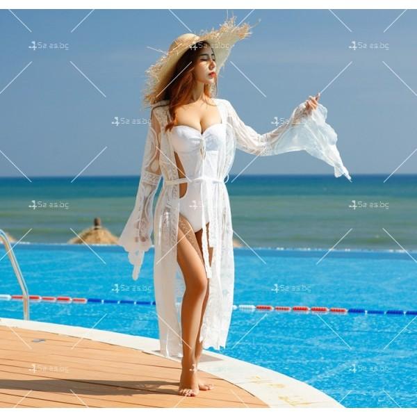 Бяла нежна бохемска дълга плажна туника от красива дантела Y80