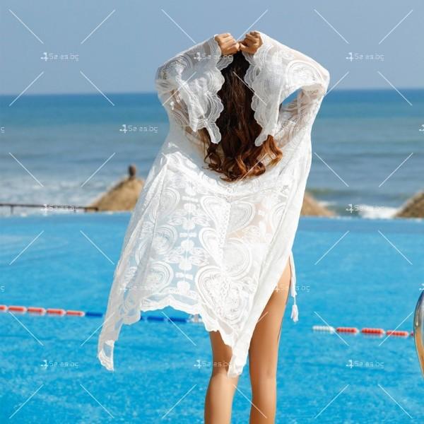 Бяла нежна бохемска дълга плажна туника от красива дантела Y80 2