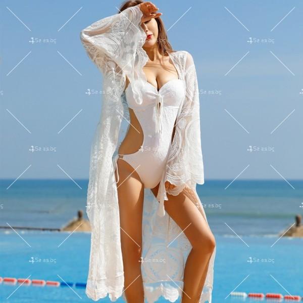 Бяла нежна бохемска дълга плажна туника от красива дантела Y80 3