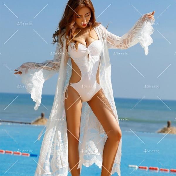 Бяла нежна бохемска дълга плажна туника от красива дантела Y80 5