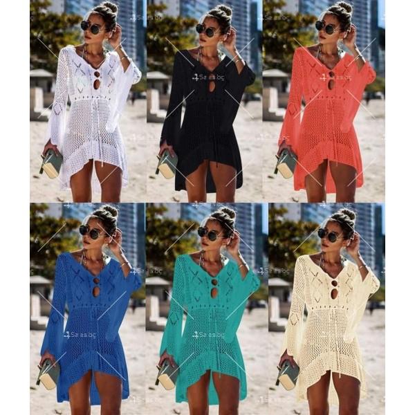 Секси плажна туника с дълъг ръкав, плетена на една кука в различни цветове Y81 1