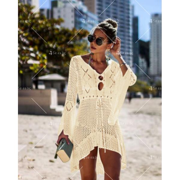 Секси плажна туника с дълъг ръкав, плетена на една кука в различни цветове Y81 5