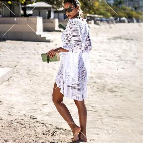 Секси плажна туника с дълъг ръкав, плетена на една кука в различни цветове Y81 9