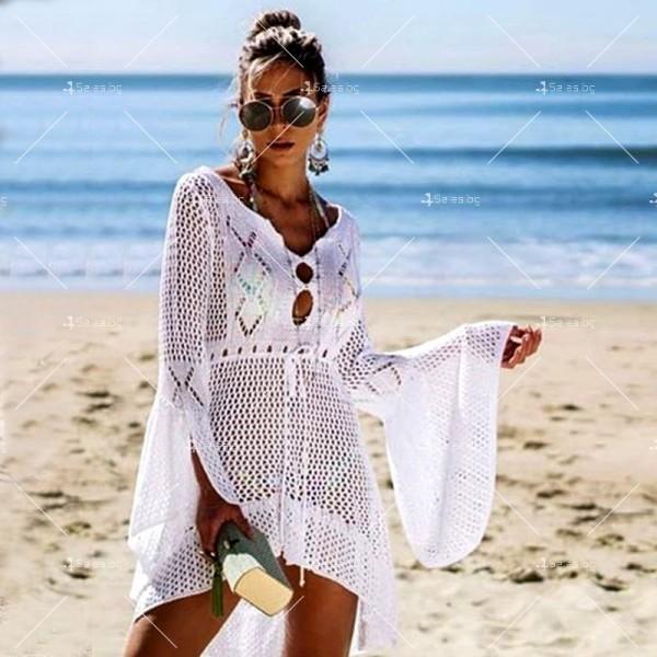 Секси плажна туника с дълъг ръкав, плетена на една кука в различни цветове Y81 10
