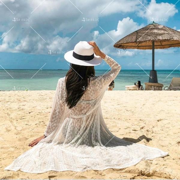 Красива плажна туника с дължина до долу и дълъг ръкав Y83 3