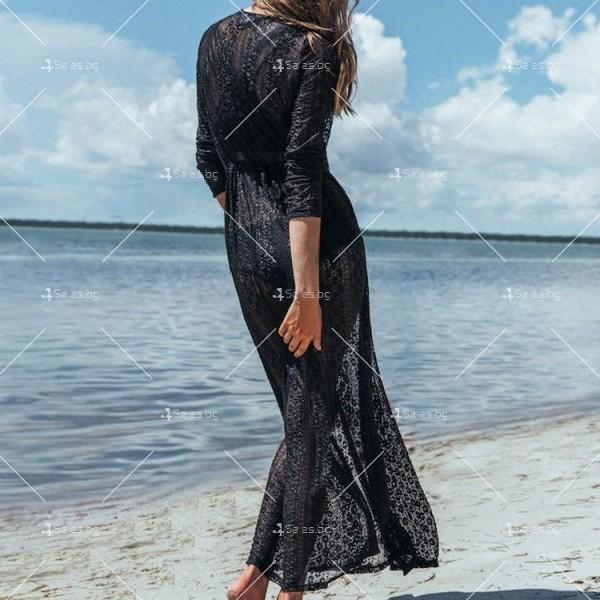Красива плажна туника с дължина до долу и дълъг ръкав Y83 8