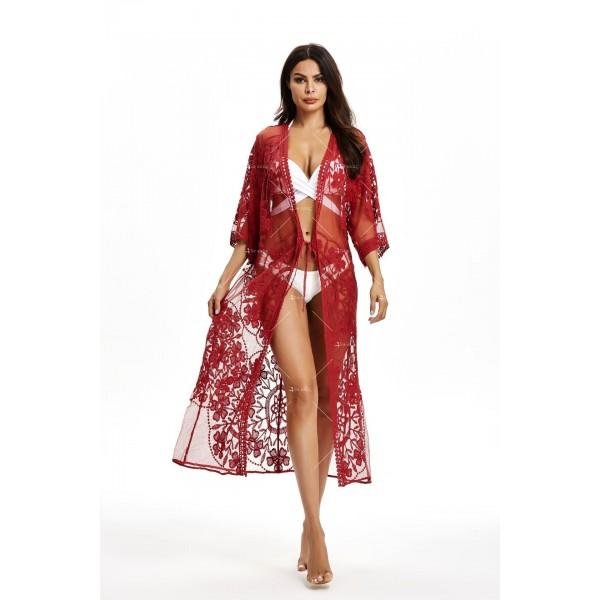Интересна дантелена туника за плаж тип кимоно в различни цветове Y87 5