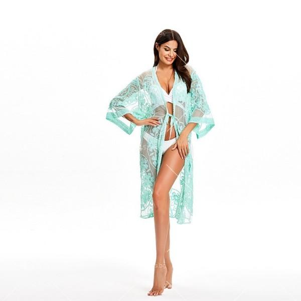Интересна дантелена туника за плаж тип кимоно в различни цветове Y87 6