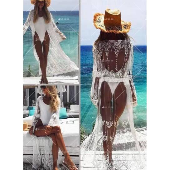 Полупрозрачна бродирана дантелена плажна туника в бял цвят Y89