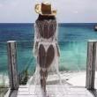 Полупрозрачна бродирана дантелена плажна туника в бял цвят Y89 2