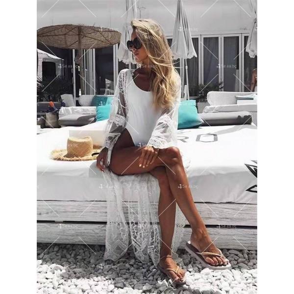 Полупрозрачна бродирана дантелена плажна туника в бял цвят Y89 5