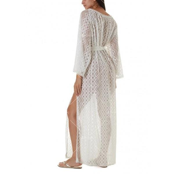 Плажна рокля с бродирана дантела в бял цвят Y90 2