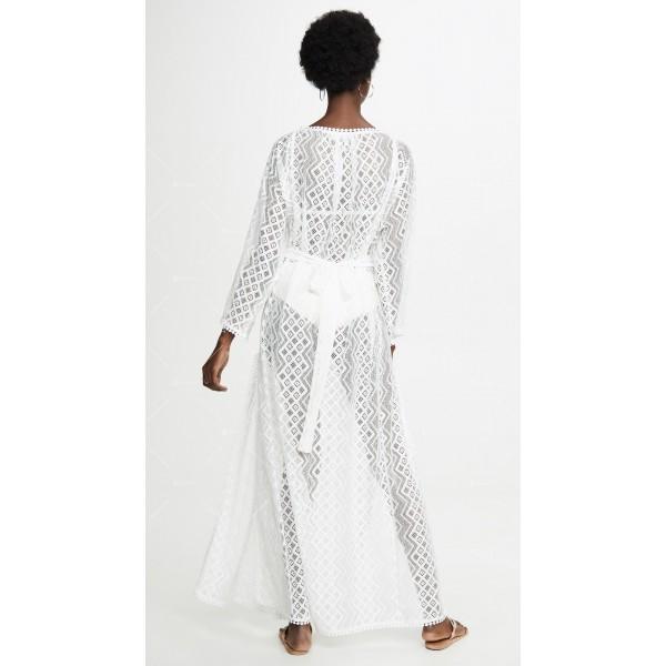 Плажна рокля с бродирана дантела в бял цвят Y90 3
