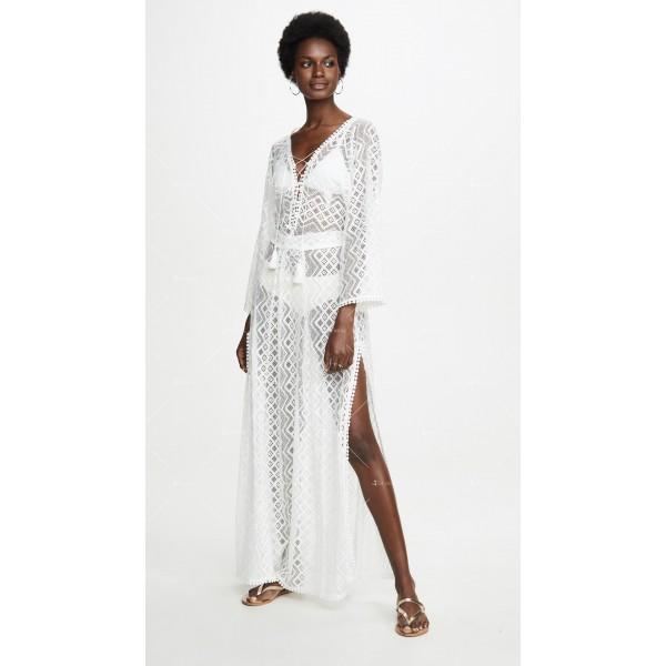 Плажна рокля с бродирана дантела в бял цвят Y90 4