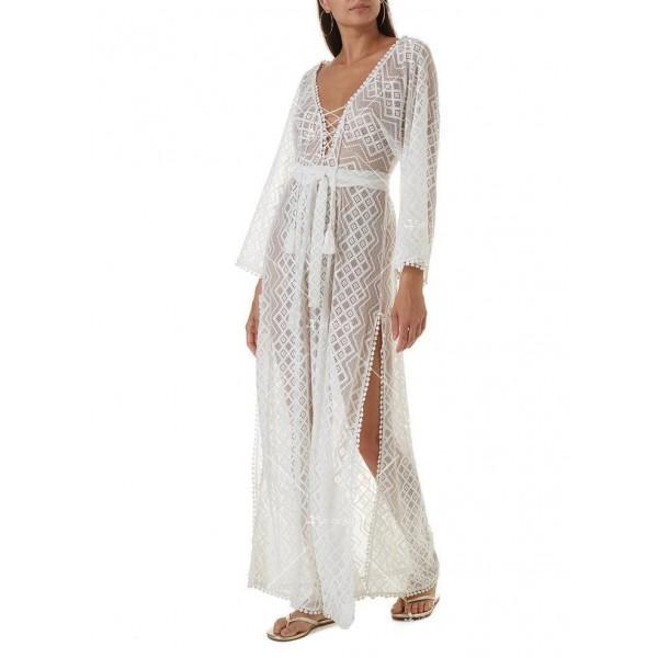 Плажна рокля с бродирана дантела в бял цвят Y90 5