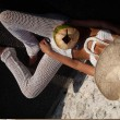Интересен плажен панталон плетен на една кука с дълги крачоли Y91 7