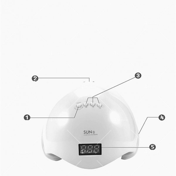 Елегантна и компактна UV LED лампа за нокти SUN5 с висока мощност-48W - MK13 6