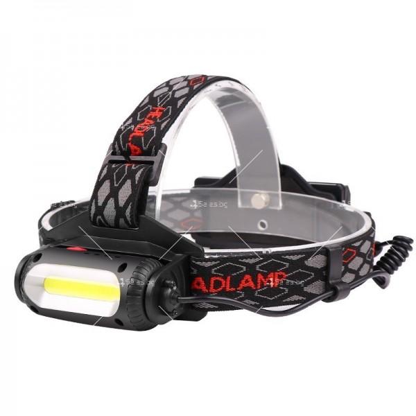 Двустранна лампа за глава, LED T6 + COB въртящ се фар на 360 ° - FL60 4