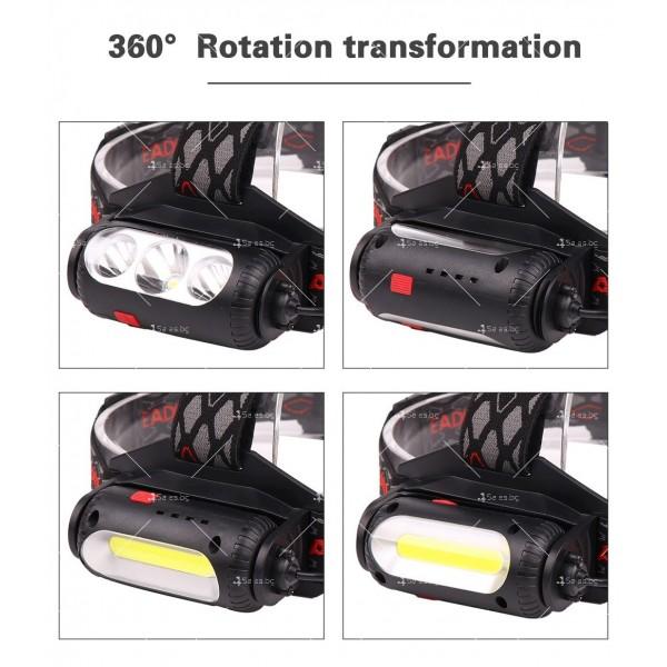 Двустранна лампа за глава, LED T6 + COB въртящ се фар на 360 ° - FL60 8