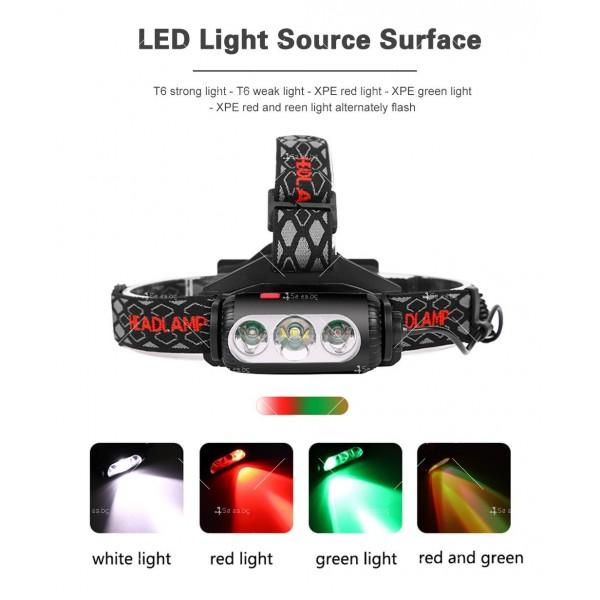 Двустранна лампа за глава, LED T6 + COB въртящ се фар на 360 ° - FL60 10