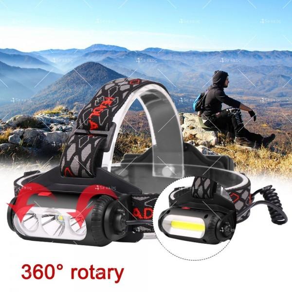 Двустранна лампа за глава, LED T6 + COB въртящ се фар на 360 ° - FL60 13
