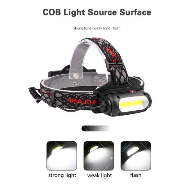 Двустранна лампа за глава, LED T6 + COB въртящ се фар на 360 ° - FL60 14