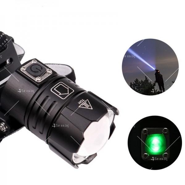 Мощен фенер за глава 1500 Lumen с USB голям обектив и крушка XHP70 - FL58 3