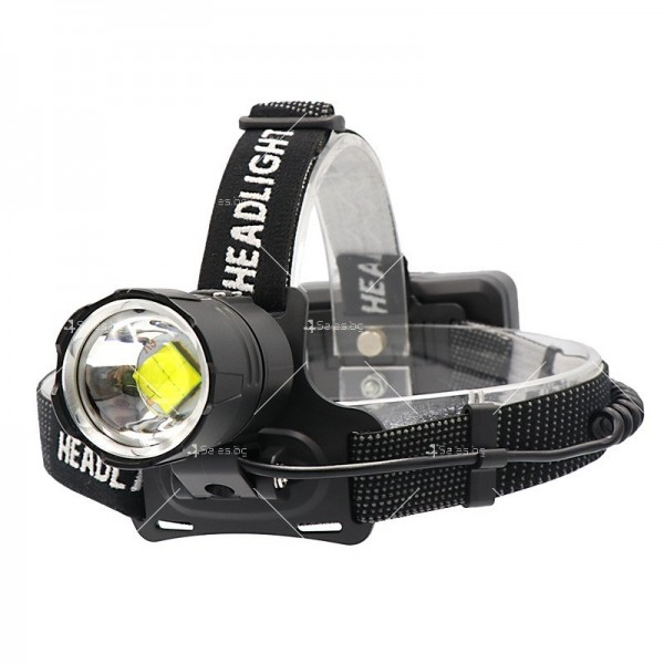 Мощен фенер за глава 1500 Lumen с USB голям обектив и крушка XHP70 - FL58 5
