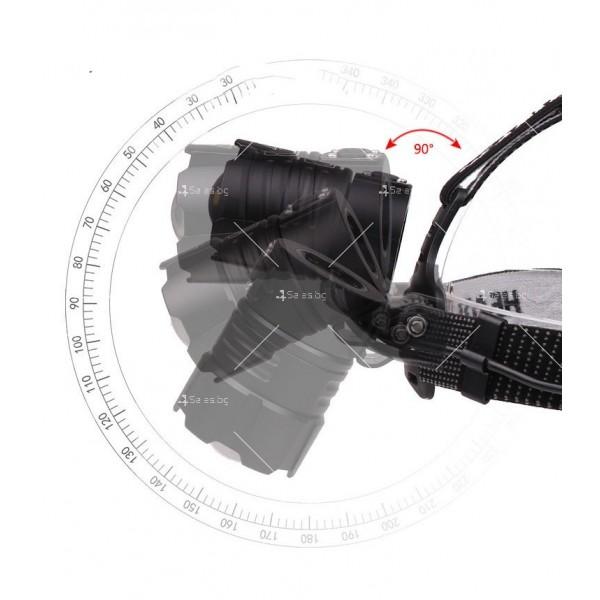 Мощен фенер за глава 1500 Lumen с USB голям обектив и крушка XHP70 - FL58 7
