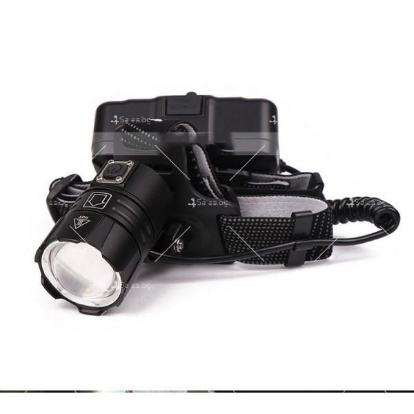 Мощен фенер за глава 1500 Lumen с USB голям обектив и крушка XHP70 - FL58 9