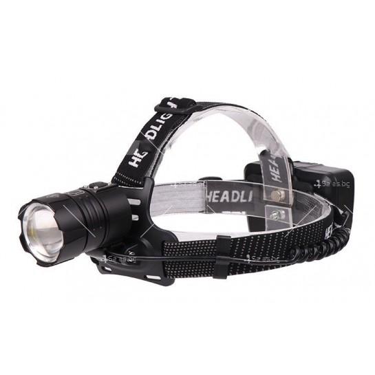 Мощен фенер за глава 1500 Lumen с USB голям обектив и крушка XHP70 - FL58