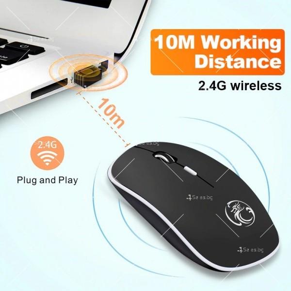 Безшумна, безжична компютърна мишка с 1600 DPI и ергономичен дизайн 6