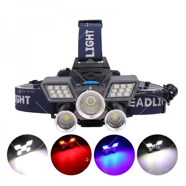 Фенер – челник с лампи L2 + 2 х T6 + 2 LED фара и USB захранване FL71