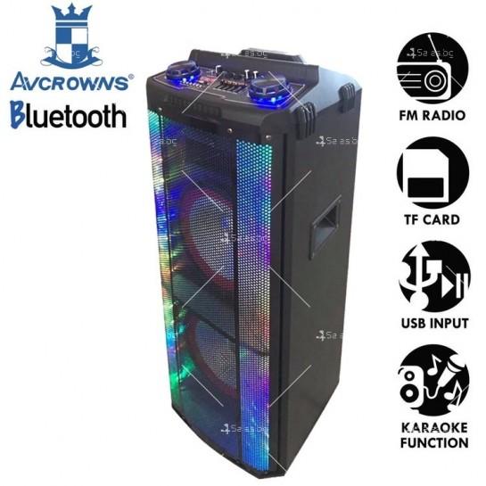 Avcrowns HS-TD1070 Парти спийкър с Bluetooth безжичен микрофон - 2X10 инча